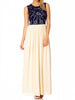 Women's Fashion Evening Dress, navy bodice with bead work detail - front