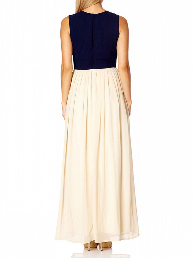 Women's Fashion Prom Dress with full length pleated chiffon skirt - Back