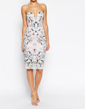 Women's Fashion Floral Bodycon Dress, Optional Straps, Knee Length - Front