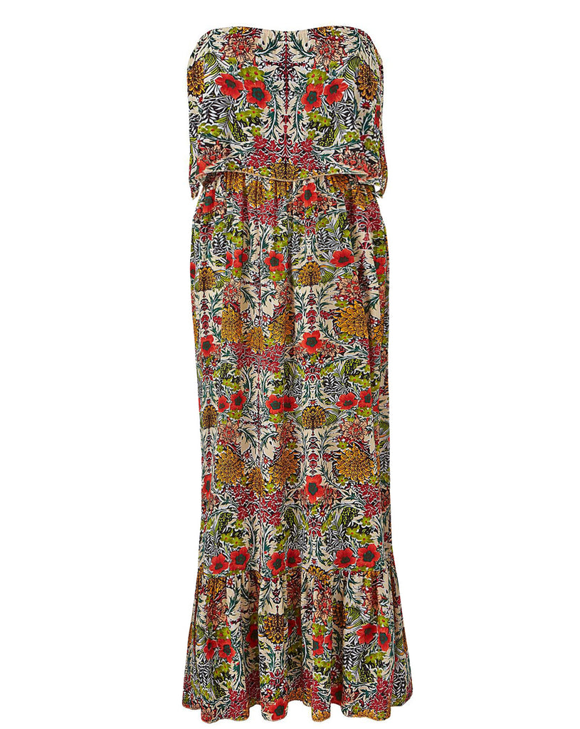 Women's Fashion Poppy Print Strapless Maxi Dress In An Easy To Wear Crepe Fabric - Front