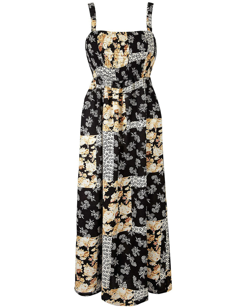 Women's Fashion Maxi Dress In Monochrome and Cream With Detachable Straps - Front
