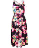 Women's Fashion Hibiscus Flower Print Maxi Dress With Front Split Detail - Front