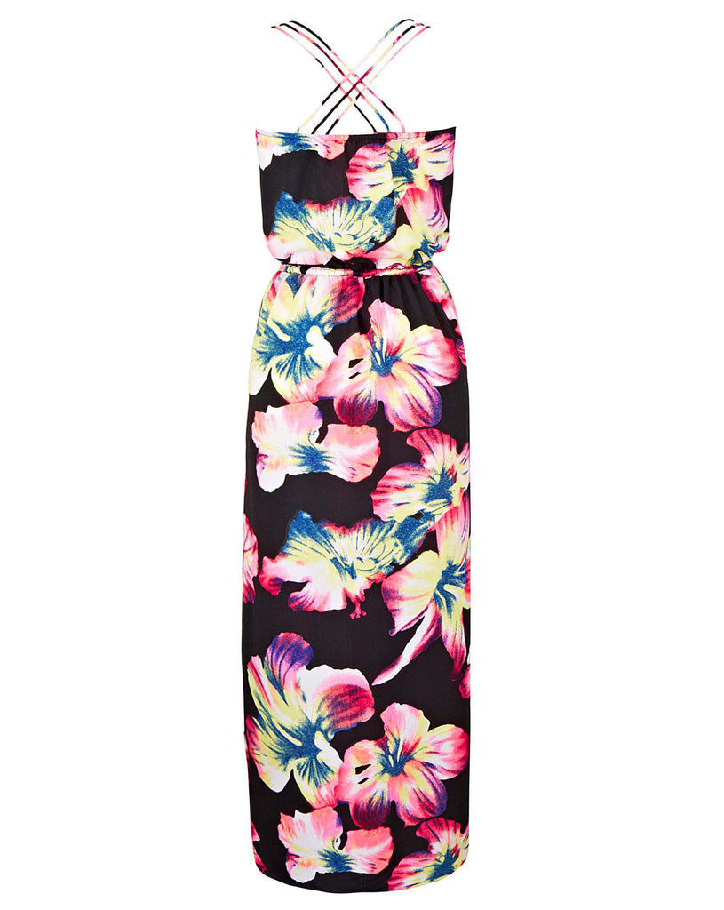 Ladies Fashion Hibiscus Flower Print Maxi Dress With Triple Strap Detail That Crosses Over At The Back - Back