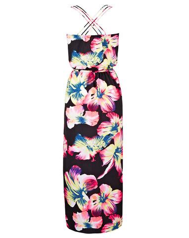 Geometric Tropical Print Scuba Pencil Dress