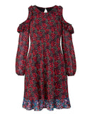 Women's Fashion Cold Shoulder, Floral Print Dress - Plus Size - Front