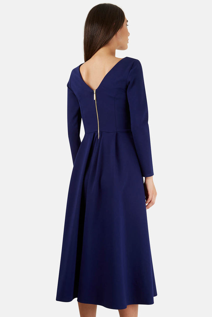 Blue Long Sleeve V Back Exposed Zip Midi Dress Rear