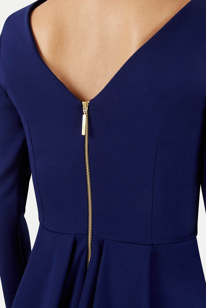 Blue Long Sleeve V Back Exposed Zip Midi Dress Close Up Back