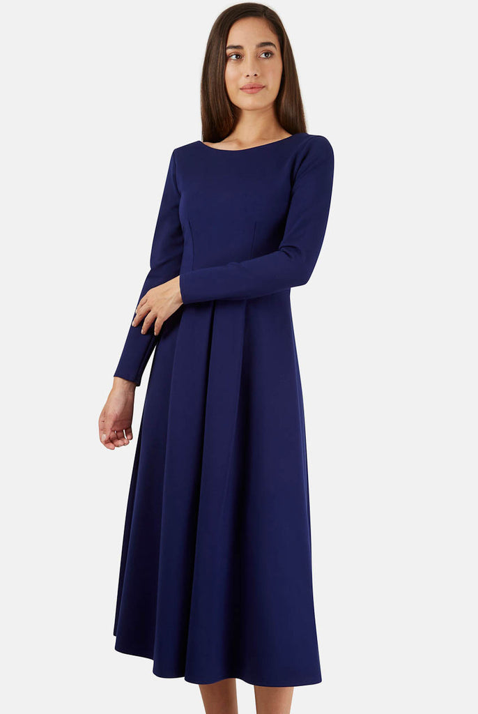 Blue Long Sleeve V Back Exposed Zip Midi Dress Front