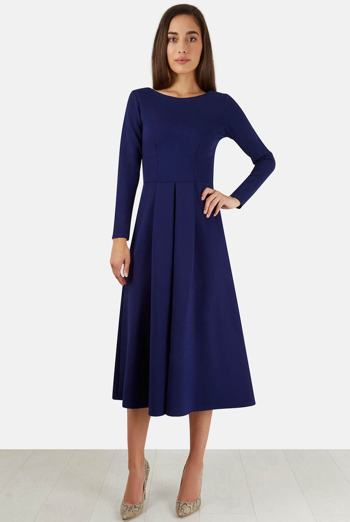 Blue Long Sleeve V Back Exposed Zip Midi Dress Distance