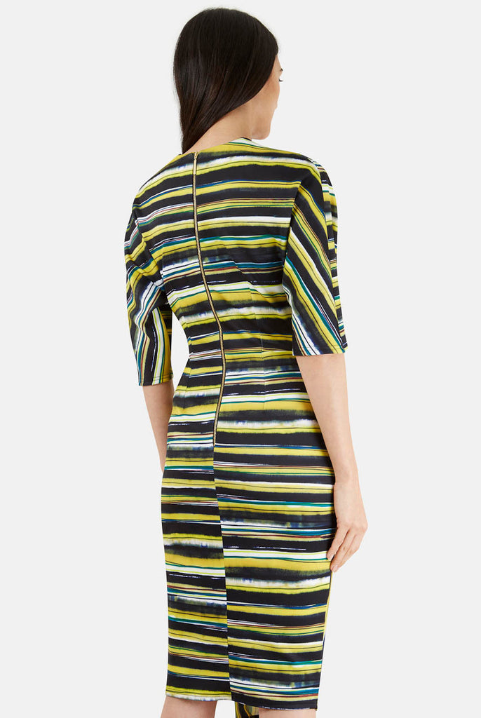 Closet London Navy and Lime Stripe Wrap Dress Close Up Rear