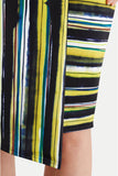 Closet London Navy and Lime Stripe Wrap Dress Close Up Hem