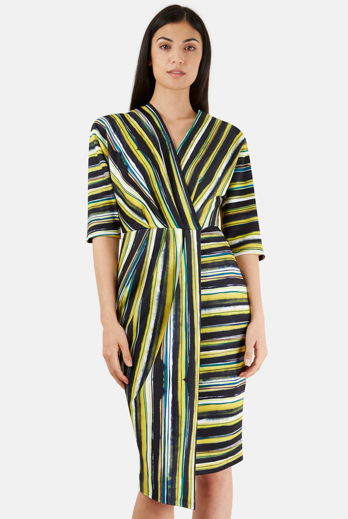 Closet London Navy and Lime Stripe Wrap Dress Close Up Front
