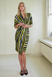 Closet London Navy and Lime Stripe Wrap Dress Front