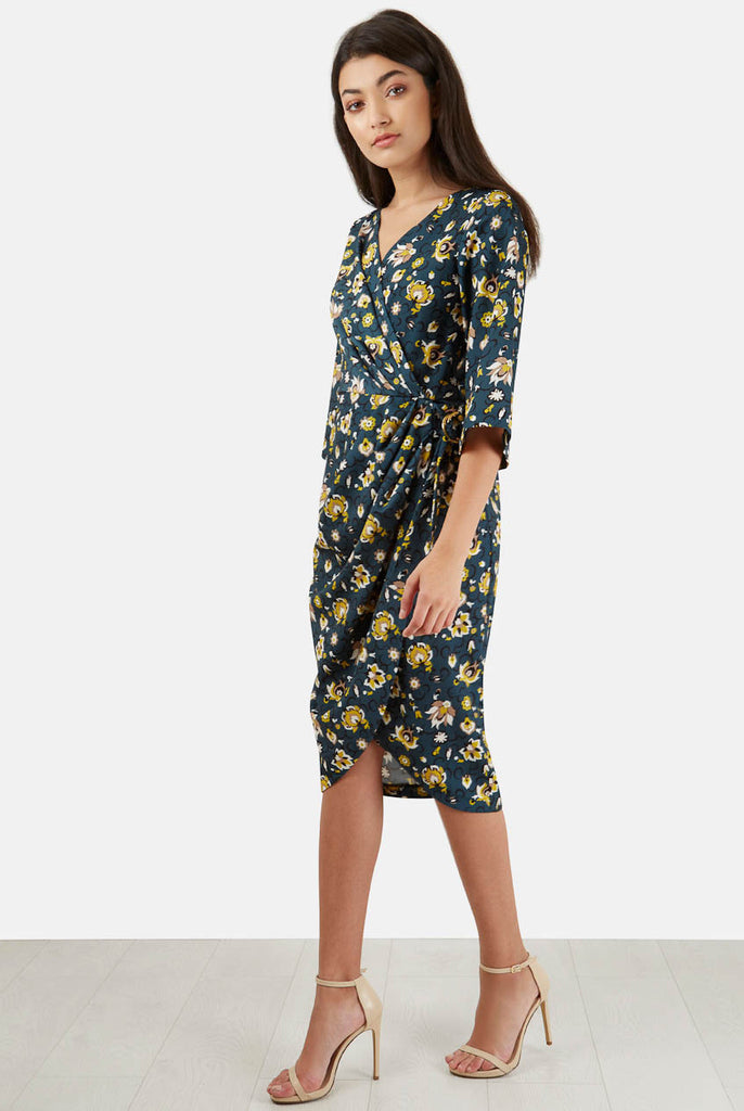 Teal Floral Kimono Wrap Style Day Dress front