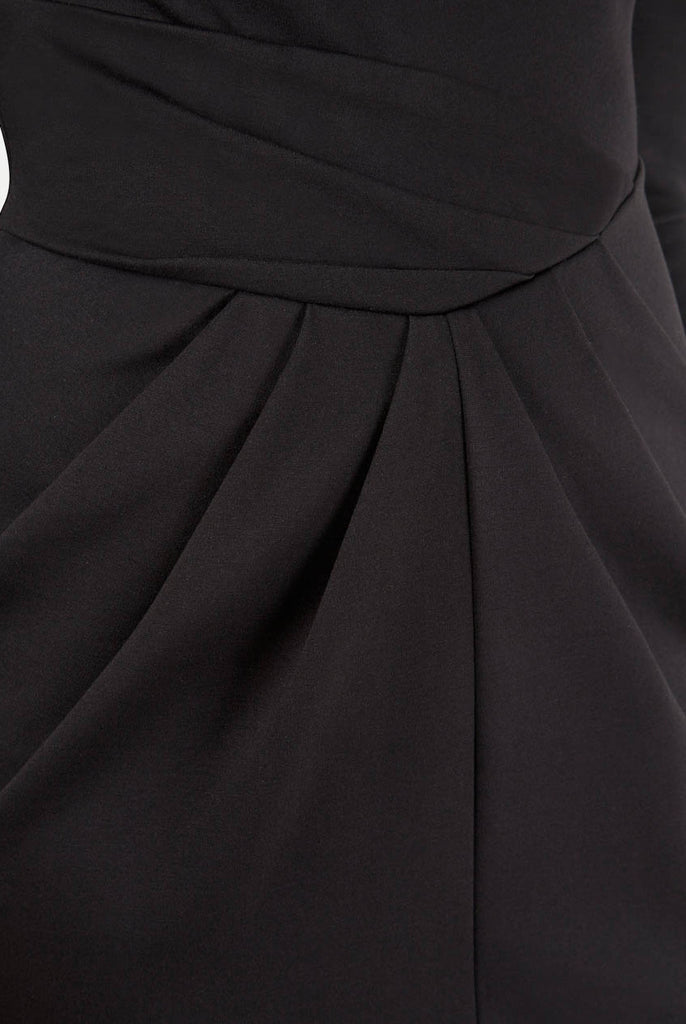 Black Asymmetric Three Quarter Sleeve V-Back Dress Close Up
