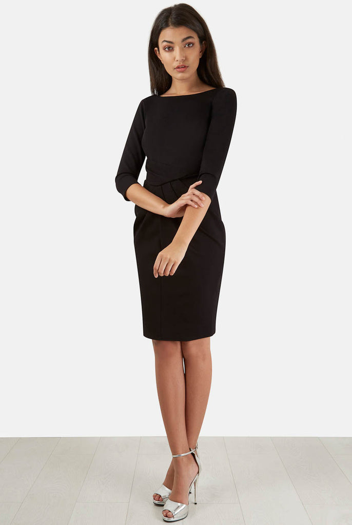 Black Asymmetric Three Quarter Sleeve V-Back Dress Full Length