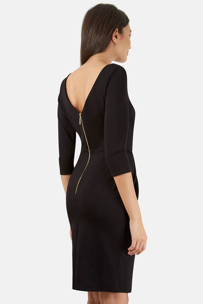 Black Asymmetric Three Quarter Sleeve V-Back Dress Rear