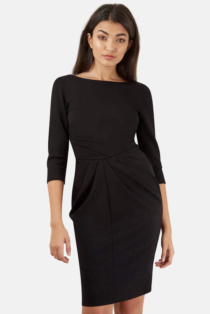 Black Asymmetric Three Quarter Sleeve V-Back Dress Front