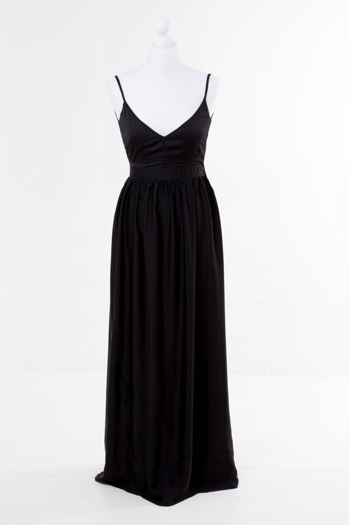 Halter Neck Maxi Dress - The Dress Box Collection - Black