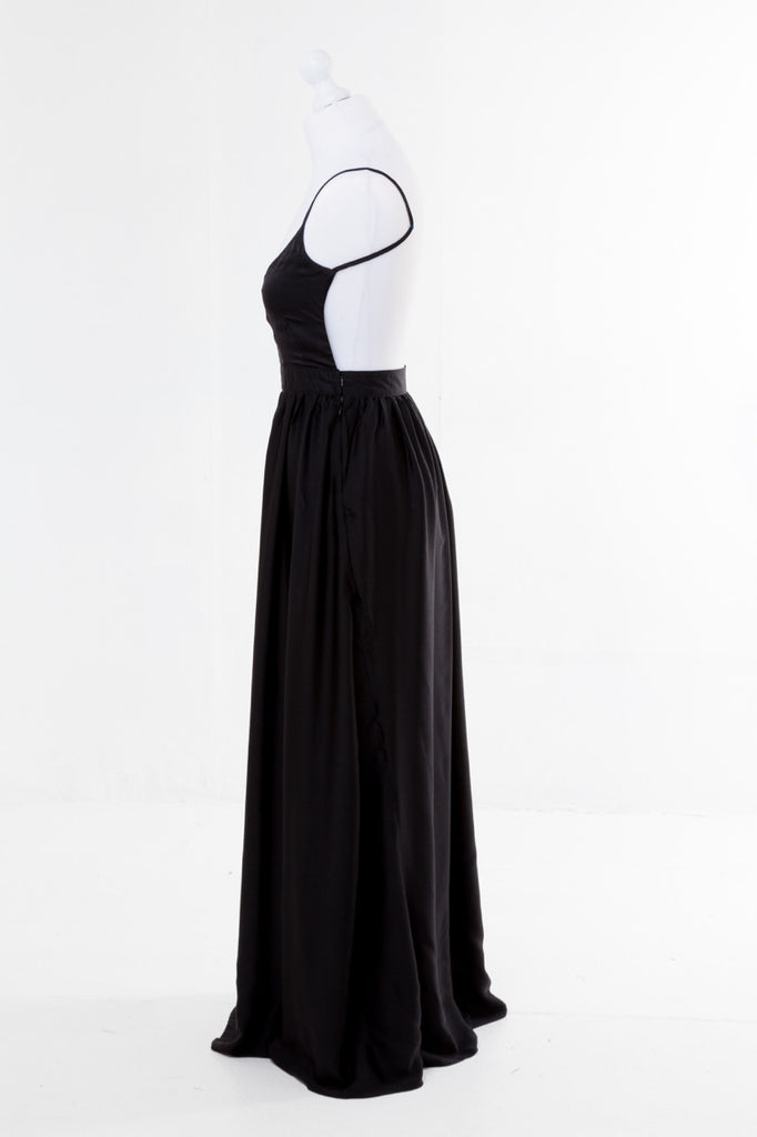 Halter Neck Maxi Dress - The Dress Box Collection - Black Side