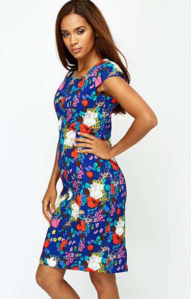 Ladies Fashion Blue Floral Dress With Capped Sleeves & Pinched Waistline - Angle