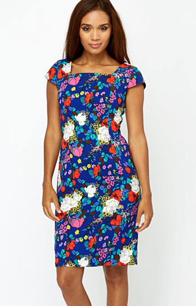 Women's Fashion Beautiful Blue Floral Print Dress With Capped Sleeves & Pinched Waist - Front