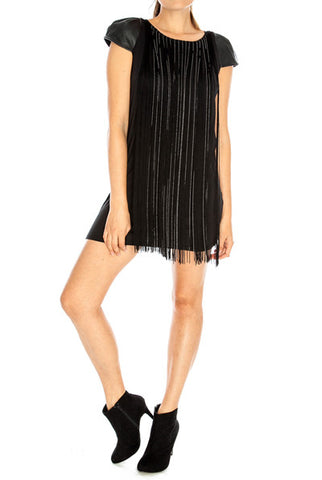 Jersey and Silk Pleated Cocktail Dress