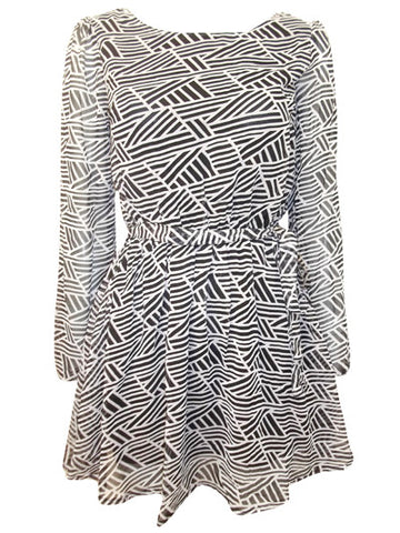 India Print 3/4 Split Sleeve Chiffon Tunic