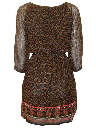 Women's Indian Print Tunic With Split Sleeve Detailing - Rear