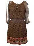 Women's Fashion Chiffon Tunic With India Print & Keyhole Neck Tie Detail - Front