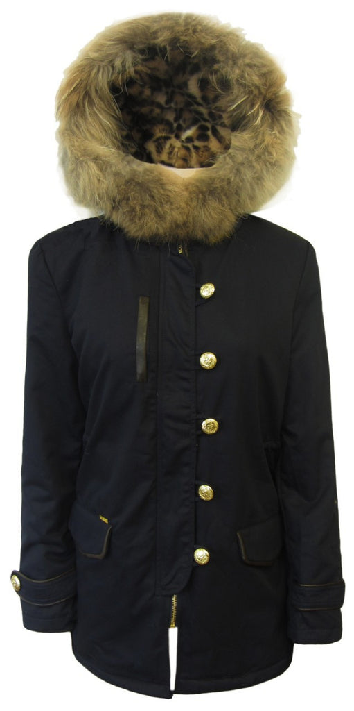 Women's Fashion Coat, Navy, Leopard Lining, Fur Trimmed Parka - Front