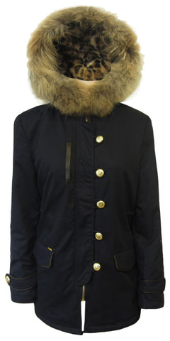 "Belted Parka with ""fur"" Hood"
