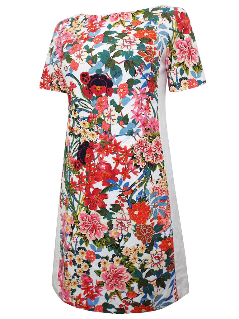 Ladies Fashion Floral Painted Sheath Dress (Angle)