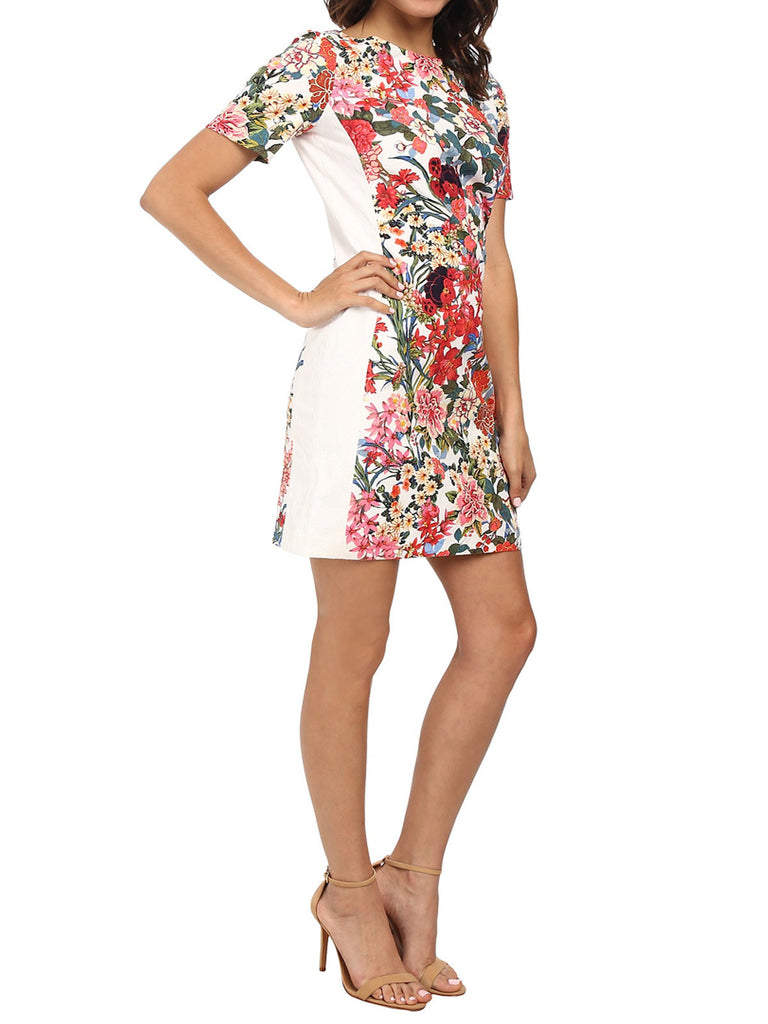Women's Fashion Floral Painted Sheath Dress With Short Sleeves (Angle Modeled)