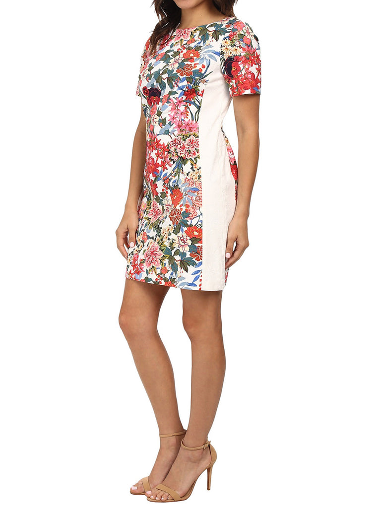 Women's Fashion Floral Painted Sheath Dress, Fully Lined (Angle Modeled)