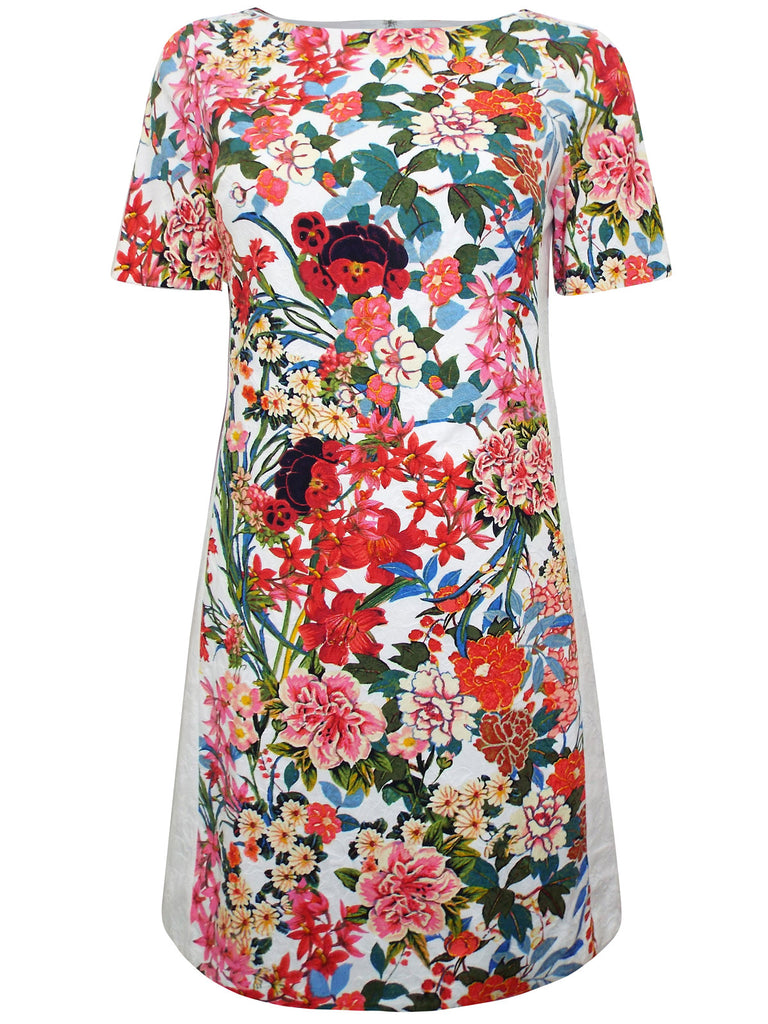 Women's Fashion Floral Painted Sheath Dress With Short Sleeves, Fully Lined (Front)