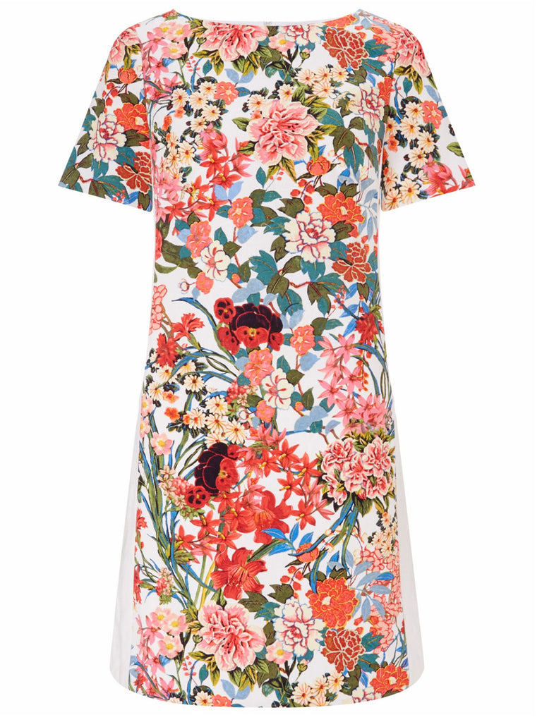 Ladies Fashion Floral Painted Sheath Dress Fully Lined (Front Flat)