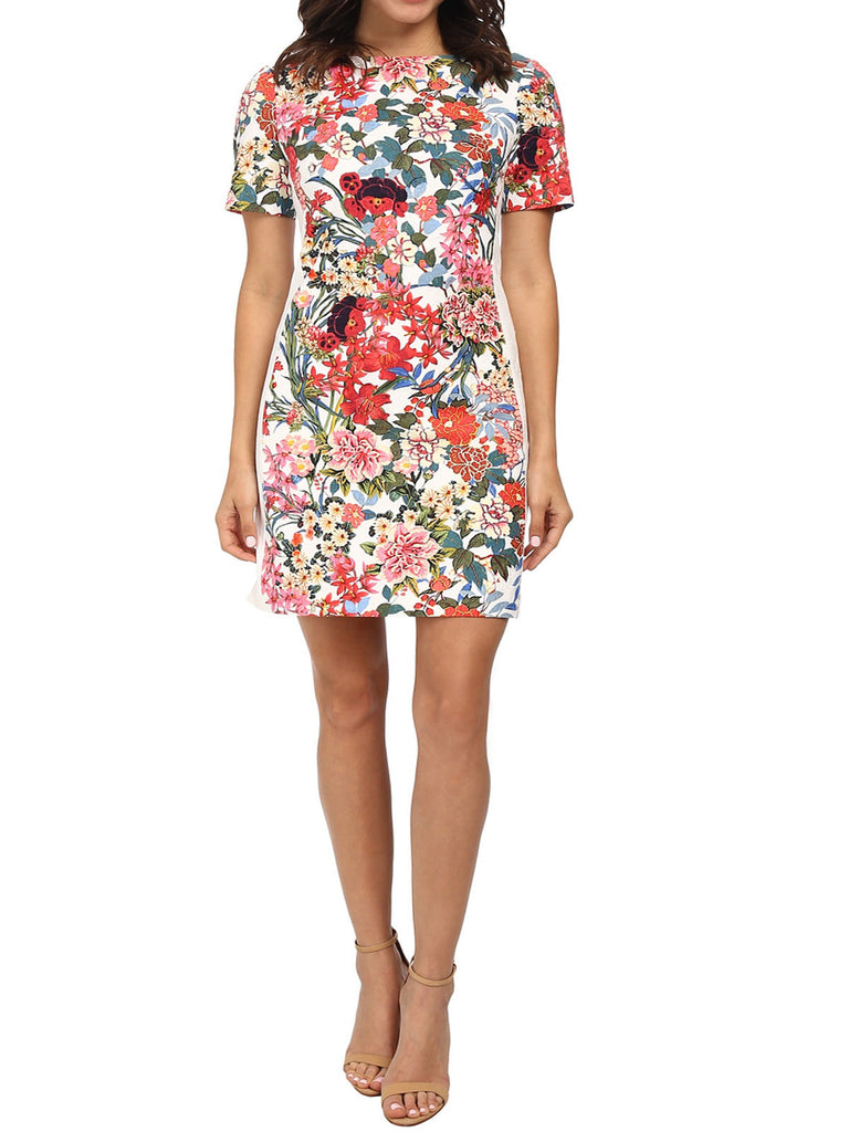 Ladies Fashion Floral Painted Sheath Dress (Modeled Front)