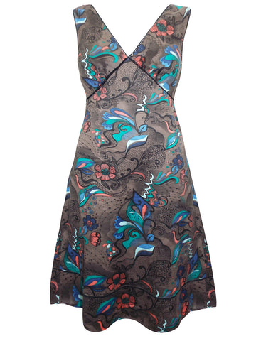 Tulip Print, Cowl Neck, Drape Dress