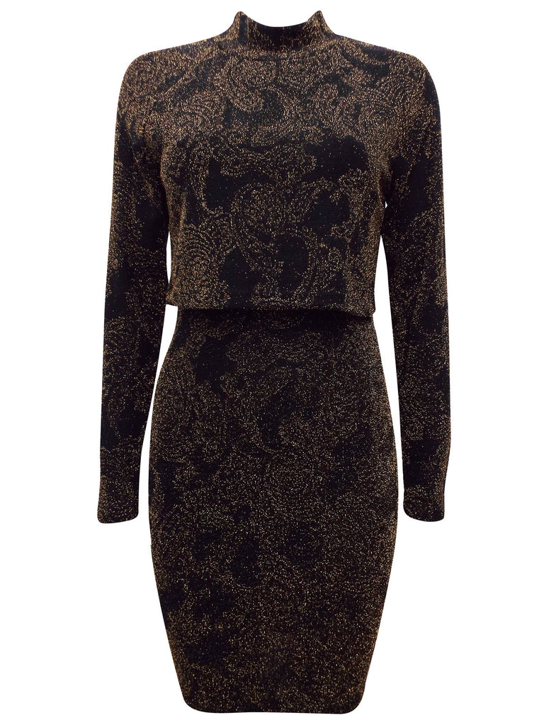 Ladies Fashion Black and Gold Glitter Bodycon Party Dress with Overlay Front