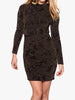 Ladies Fashion Black and Gold Glitter Bodycon Party Dress with Overlay Model