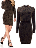 Ladies Fashion Black and Gold Glitter Bodycon Party Dress with Overlay