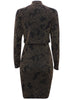 Ladies Fashion Black and Gold Glitter Bodycon Party Dress with Overlay Rear