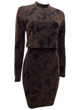 Ladies Fashion Black and Gold Glitter Bodycon Party Dress with Overlay Side