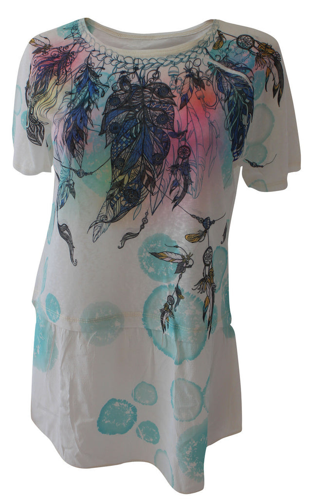 Dreamcatcher Print, Drop Hem Top