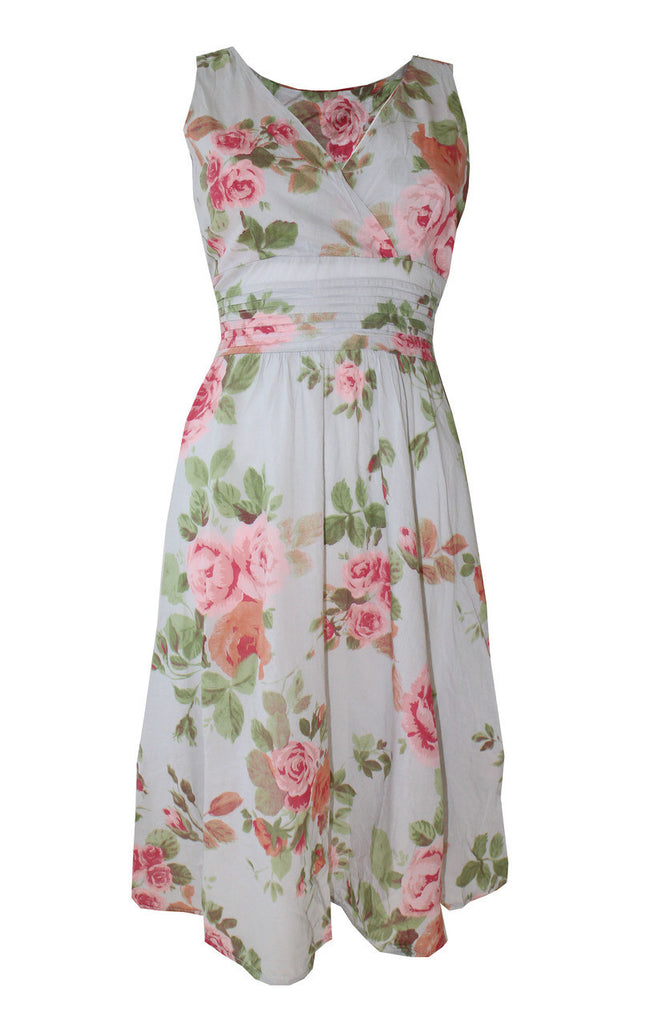 Women's Fashion Flower Print Sleeveless Cotton Dress - Front