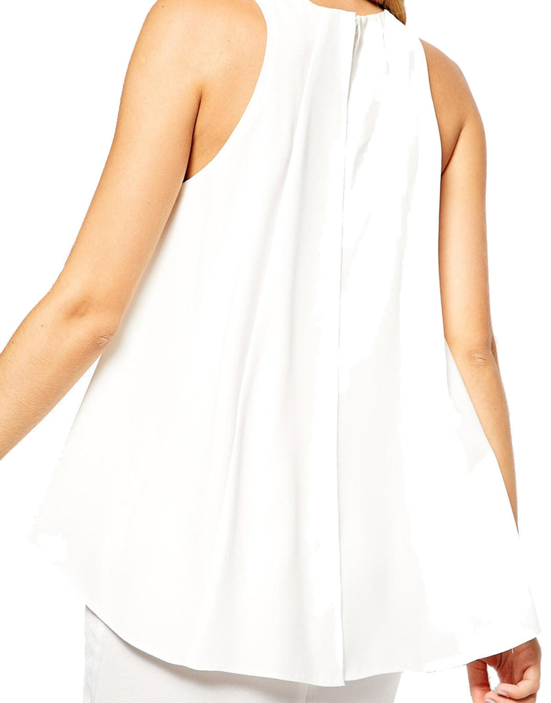White Overlay Cocktail Dress -  Close Modelled Rear Angle