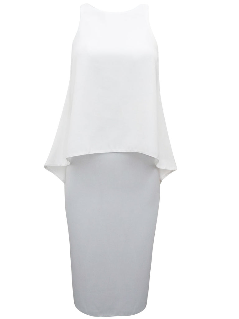 Ladies Fashion White Overlay Cocktail Dress With High Neckline - Front