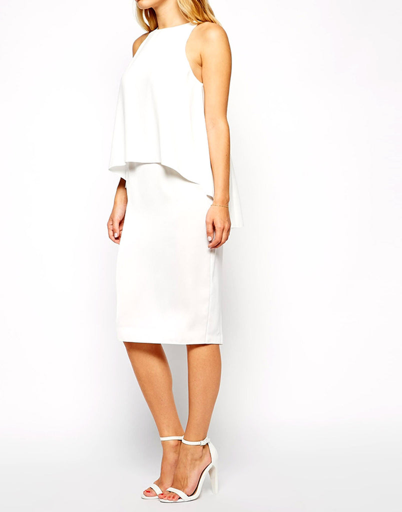 White Overlay Cocktail Dress-  Modelled Front Angle