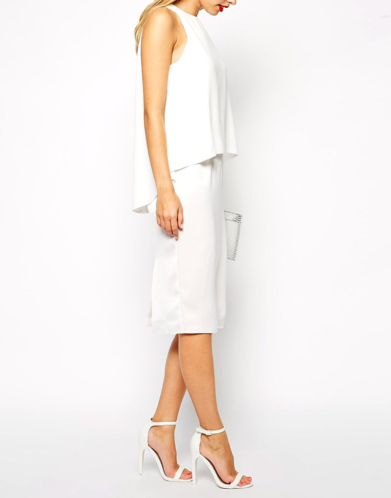 Women's Fashion White Overlay Cocktail Dress -  Modelled Side
